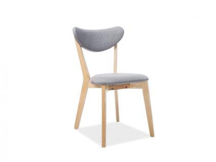 Židle BRANDO dub/šedé polstrování č. 130