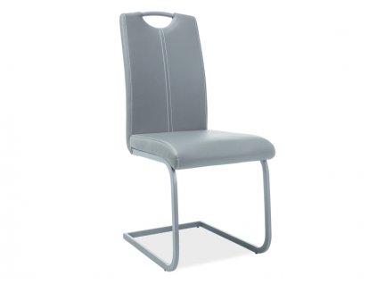 Židle H148 šedá kostra/šedá koženka