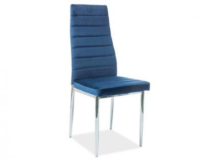 Židle H261 Velvet chrom/tmavě modrý Bluvel 86