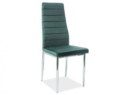 Židle H261 Velvet chrom/zelený Bluvel 78