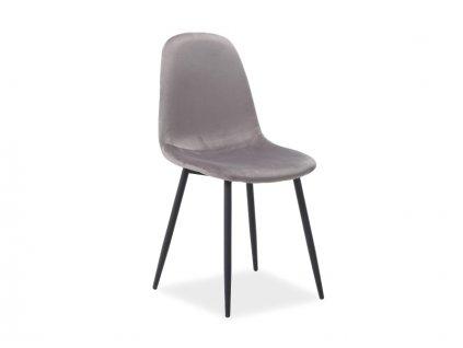 Židle FOX Velvet černá kostra/šedé polstrování č.93