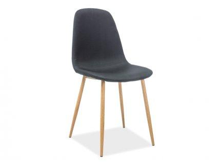 Židle FOX dub kostra/černé polstrování č. 107