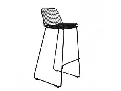Židle barová DILL HIGH černá s černým polštářem