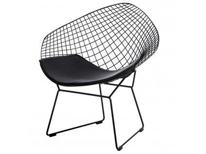 Židle HARRYARM černá, černý polštář