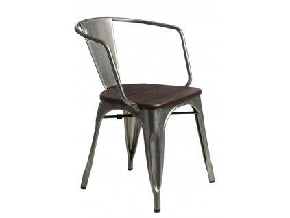 Židle PARIS ARMS WOOD kovová borovice kartáčovaná