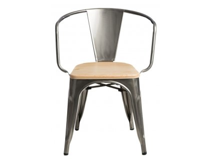 Židle PARIS ARMS WOOD kovová borovice přírodní