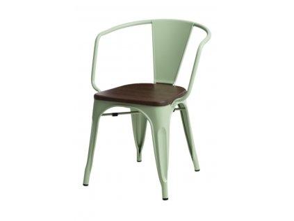 Židle PARIS ARMS WOOD zelená borovice ořech