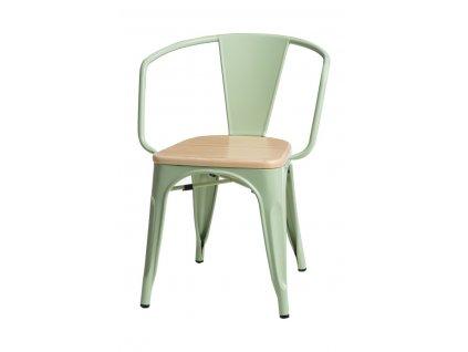 Židle PARIS ARMS WOOD zelená borovice přírodní