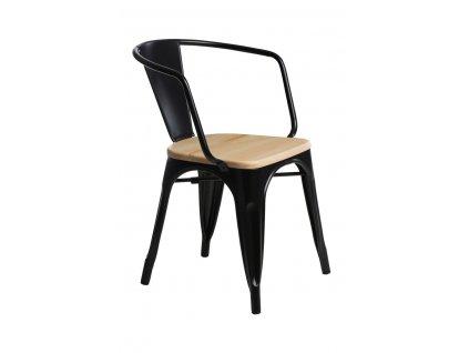 Židle PARIS ARMS WOOD černá borovice přírodní