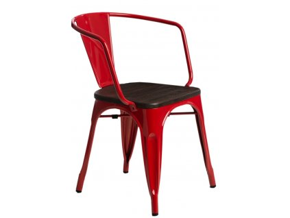 Židle PARIS ARMS WOOD červená borovice kartáčovaná