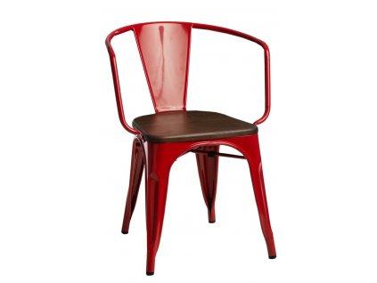 Židle PARIS ARMS WOOD červená borovice ořech