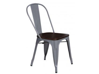 Židle PARIS WOOD šedá borovice ořech