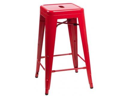 Barová židle PARIS 66cm červená inspirovaná Tolix