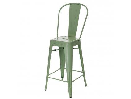 Barová židle PARIS BACK zelená inspirovaná Tolix