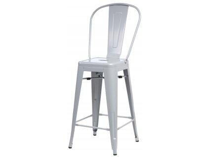 Barová židle PARIS BACK šedá inspirovaná Tolix