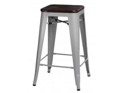 Barová židle PARIS WOOD 65cm šedá borovice kartáčovaná