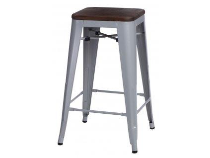 Barová židle PARIS WOOD 65cm šedá borovice ořech