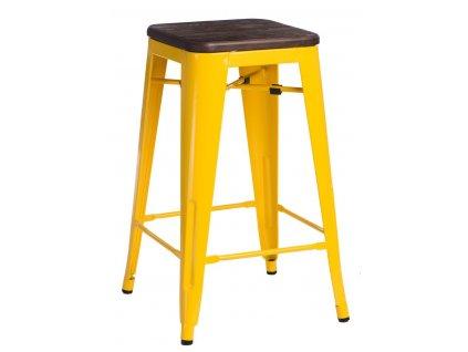 Barová židle PARIS WOOD 75cm žlutá borovice kartáčovaná