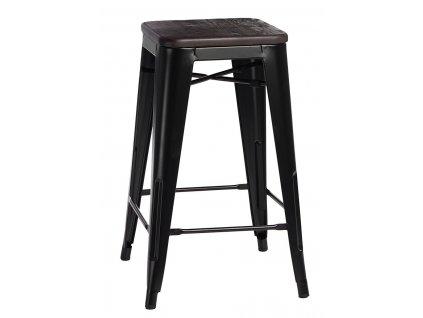 Barová židle PARIS WOOD 75cm černá borovice kartáčovaná