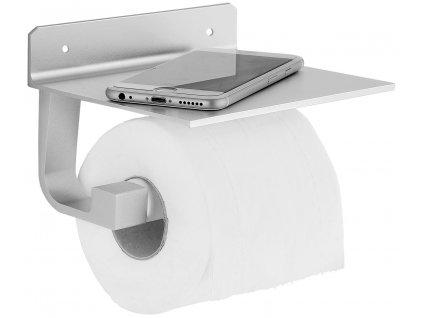Držák na toaletní papír s poličkou stříbrný