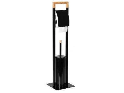 Stojan kovový s bambusem černý
