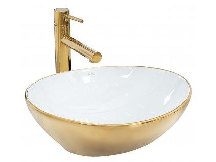 Umyvadlo na pracovní desku REA SOFIA zlaté / bílé