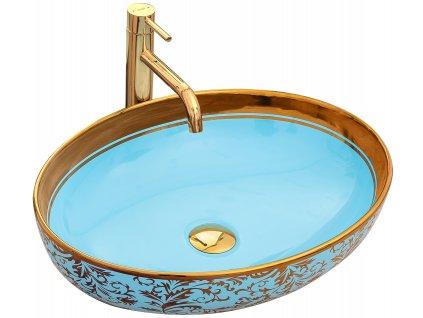 Umyvadlo MARGOT zlato / modré keramické