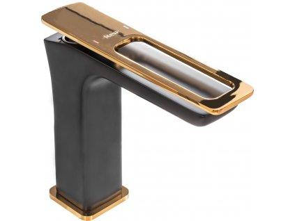 Baterie umyvadlová SOHO nízká černá zlatá