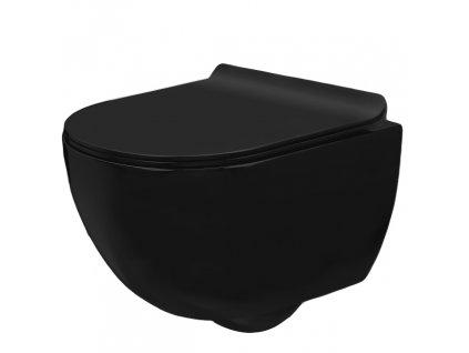 Mísa WC černá matná závěsná CARLO MINI SLIM REA