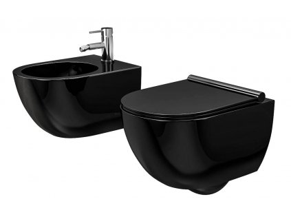 Sada mísa WC + bidet CARTER černá závěsná