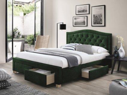 Postel ELECTRA Velvet 160x200 barva zelená / dub polstrování č.119