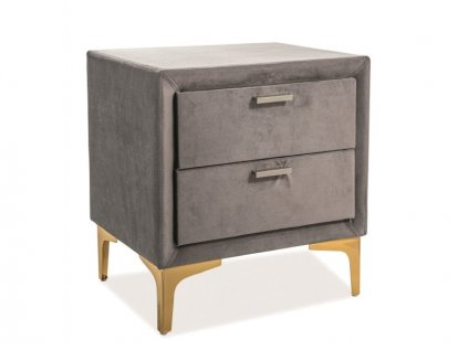 Noční stolek MIRAGE Velvet barva šedá/zlatá polstrování č.142