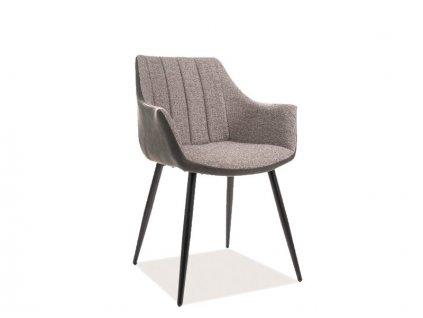Židle BRUNO černá kostra/šedá polstrování č.144