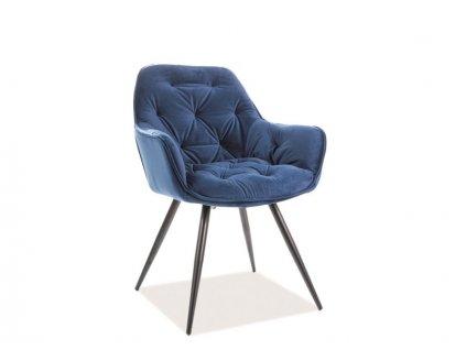 Židle CHERRY Velvet černá kostra/tmavě modrá Bluvel 86