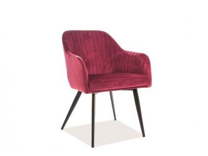 Židle ELINA Velvet černá kostra/bordová polstrování č.149