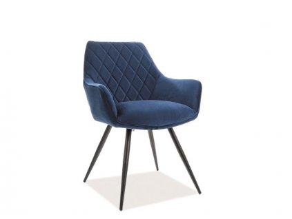 Židle LINEA Velvet černá kostra/tmavě modrá Bluvel 86