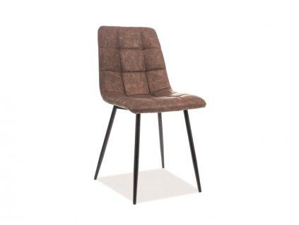 Židle LOOK černá kostra/hnědá koženka