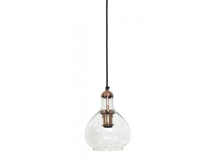 Lampa závěsná Delano měď sklo