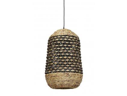 Lampa závěsná Tripoli ratan přírodní a černý