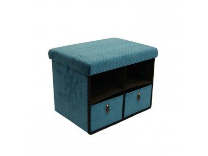 Taburet se zásuvkami Hiding 50cm modrý