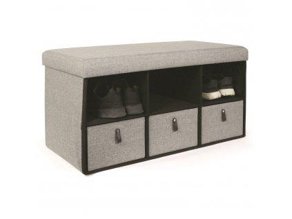 Taburet se zásuvkami Hiding 76cm šedý