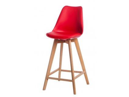 Barová židle Norden Wood PP vysoký červený