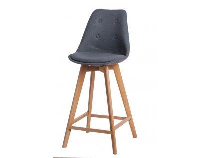 Barová židle Norden Wood vysoký polstrování šedé