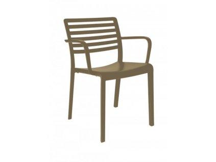 Židle Lama s područkami čokoládová
