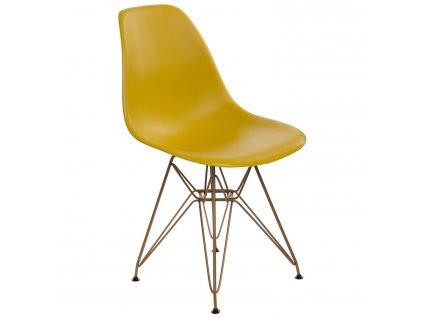 Židle P016 PP Gold tmavě olivová