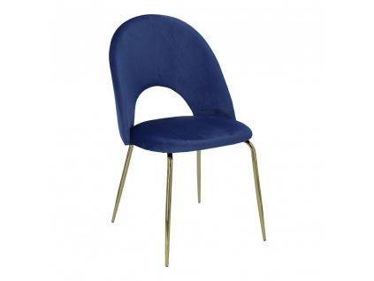 Židle Solie samet modrá/zlatá