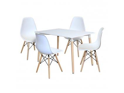 Jídelní stůl 120x80 UNO bílý + 4 židle UNO bílé
