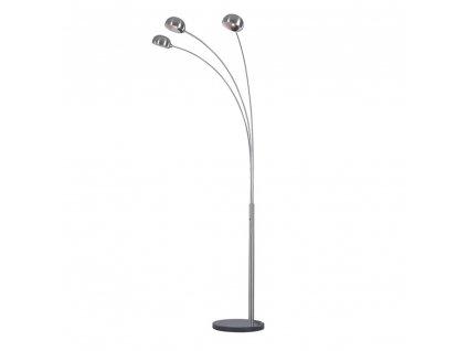 Stojací lampa, šedý kov / mramor, CINDA TYP 1