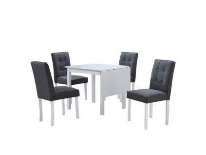 Jídelní set, rozkládací stůl, bílá / šedá, BJORK New 1+4