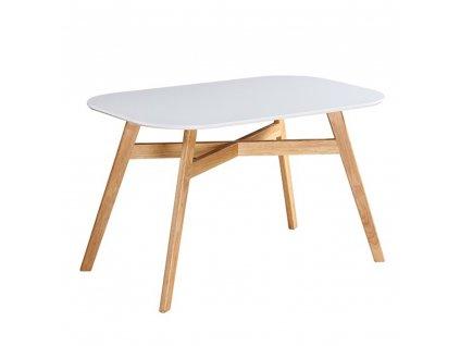 Jídelní stůl, bílá / přírodní, CYRUS NEW